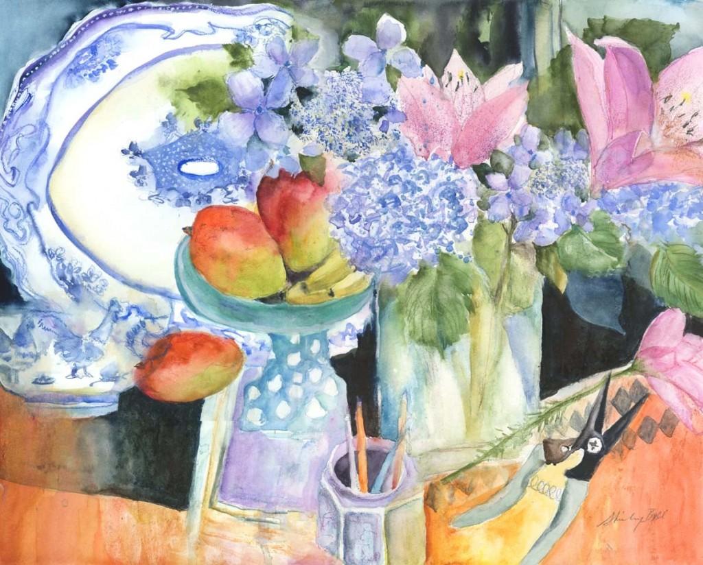 Watercolor piece Hydrangea Still Life