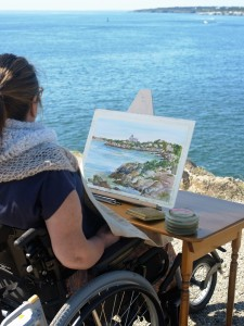 Shirley Bell painting the landscape of Fort Wetherill